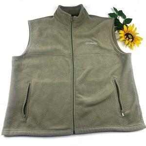 Columbia Fleece Sleeveless Vest Green Tan